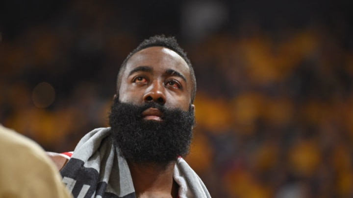 James Harden #13 of the Houston Rockets during a game against the Golden State Warriors (Photo by Andrew D. Bernstein/NBAE via Getty Images)