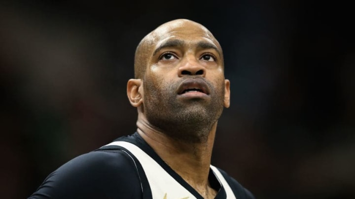 Vince Carter #15 of the Atlanta Hawks looks on in the third quarter against the Milwaukee Bucks (Photo by Dylan Buell/Getty Images)