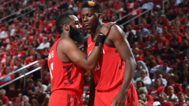 James Harden #13 and Clint Capela #15 of the Houston Rockets (Photo by Andrew D. Bernstein/NBAE via Getty Images)