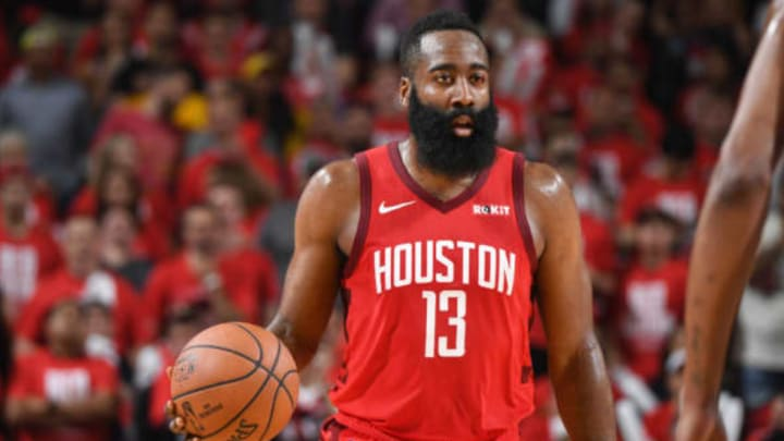 HOUSTON, TX – MAY 6: James Harden #13 of the Houston Rockets handles the ball against the Golden State Warriors during Game Four of the Western Conference Semifinals of the 2019 NBA Playoffs on May 6, 2019 at the Toyota Center in Houston, Texas. NOTE TO USER: User expressly acknowledges and agrees that, by downloading and/or using this photograph, user is consenting to the terms and conditions of the Getty Images License Agreement. Mandatory Copyright Notice: Copyright 2019 NBAE (Photo by Andrew D. Bernstein/NBAE via Getty Images)