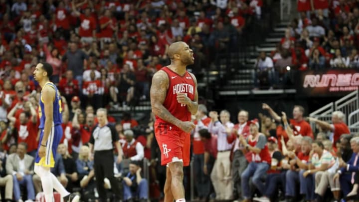 HOUSTON, TX - MAY 06: PJ Tucker #17 of the Houston Rockets celebrates in the fourth quarter during Game Four of the Second Round of the 2019 NBA Western Conference Playoffs against the Golden State Warriors at Toyota Center on May 4, 2019 in Houston, Texas. NOTE TO USER: User expressly acknowledges and agrees that, by downloading and or using this photograph, User is consenting to the terms and conditions of the Getty Images License Agreement. (Photo by Tim Warner/Getty Images)