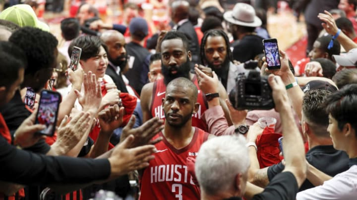 Chris Paul #3 of the Houston Rockets and James Harden #13 (Photo by Tim Warner/Getty Images)