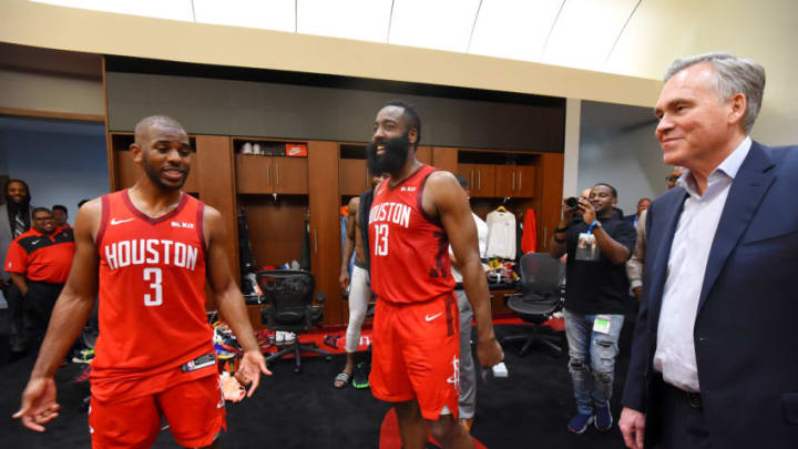 HOUSTON, TX - MAY 6: Chris Paul #3, James Harden #13 and Head Coach Mike D'Antoni of the Houston Rockets are seen in the locker room after Game Four of the Western Conference Semifinals of the 2019 NBA Playoffs on May 6, 2019 at the Toyota Center in Houston, Texas. NOTE TO USER: User expressly acknowledges and agrees that, by downloading and/or using this photograph, user is consenting to the terms and conditions of the Getty Images License Agreement. Mandatory Copyright Notice: Copyright 2019 NBAE (Photo by Bill Baptist/NBAE via Getty Images)