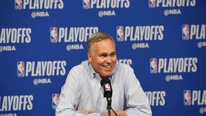 HOUSTON, TX - MAY 6: Head Coach Mike D'Antoni of the Houston Rockets speaks with the media after Game Four of the Western Conference Semifinals of the 2019 NBA Playoffs against the Golden State Warriors on May 6, 2019 at the Toyota Center in Houston, Texas. NOTE TO USER: User expressly acknowledges and agrees that, by downloading and/or using this photograph, user is consenting to the terms and conditions of the Getty Images License Agreement. Mandatory Copyright Notice: Copyright 2019 NBAE (Photo by Bill Baptist/NBAE via Getty Images)