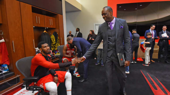 HOUSTON, TX - MAY 4 : Iman Shumpert #1 of the Houston Rockets high fives Roy Rogers after Game Three of the Western Conference SemiFinals of the 2019 NBA Playoffs against the Golden State Warriors on May 4, 2019 at the Toyota Center in Houston, Texas. NOTE TO USER: User expressly acknowledges and agrees that, by downloading and or using this photograph, User is consenting to the terms and conditions of the Getty Images License Agreement. Mandatory Copyright Notice: Copyright 2019 NBAE (Photo by Bill Baptist/NBAE via Getty Images)
