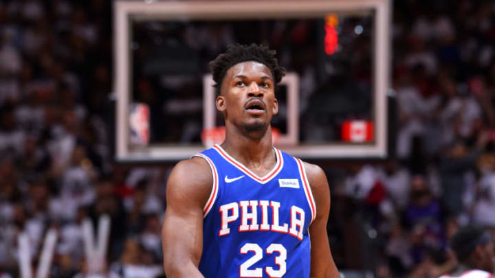 Jimmy Butler #23 of the Philadelphia 76ers looks on during a game against the Toronto Raptors (Photo by Jesse D. Garrabrant/NBAE via Getty Images)