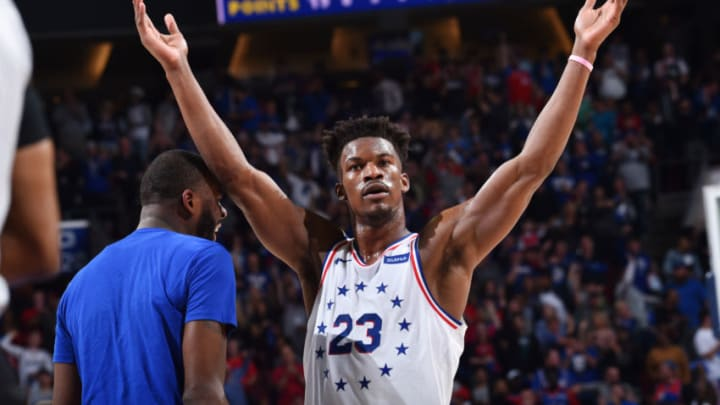 Jimmy Butler #23 of the Philadelphia 76ers reacts during a game against the Toronto Raptors (Photo by Jesse D. Garrabrant/NBAE via Getty Images)