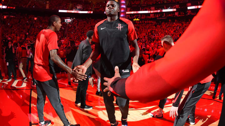 HOUSTON, TX – MAY 10: Clint Capela #15 of the Houston Rockets is introduced before Game Six of the Western Conference Semifinals against the Golden State Warriors during the 2019 NBA Playoffs on May 10, 2019 at the Toyota Center in Houston, Texas. NOTE TO USER: User expressly acknowledges and agrees that, by downloading and/or using this photograph, user is consenting to the terms and conditions of the Getty Images License Agreement. Mandatory Copyright Notice: Copyright 2019 NBAE (Photo by Andrew D. Bernstein/NBAE via Getty Images)
