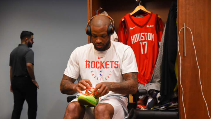 HOUSTON, TX - MAY 10: PJ Tucker #17 of the Houston Rockets puts his sneakers on prior to a game against the Golden State Warriors before Game Six of the Western Conference Semifinals of the 2019 NBA Playoffs on May 10, 2019 at the Toyota Center in Houston, Texas. NOTE TO USER: User expressly acknowledges and agrees that, by downloading and/or using this photograph, user is consenting to the terms and conditions of the Getty Images License Agreement. Mandatory Copyright Notice: Copyright 2019 NBAE (Photo by Bill Baptist/NBAE via Getty Images)