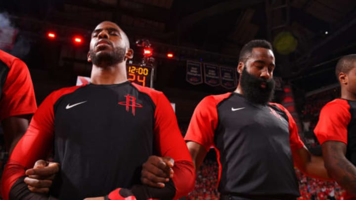 The Houston Rockets stand for the National Anthem prior to a game against the Golden State Warriors before Game Six of the Western Conference Semifinals