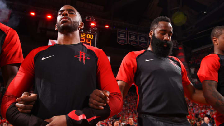 The Houston Rockets stand for the National Anthem prior to a game against the Golden State Warriors before Game Six of the Western Conference Semifinals (Photo by Bill Baptist/NBAE via Getty Images)