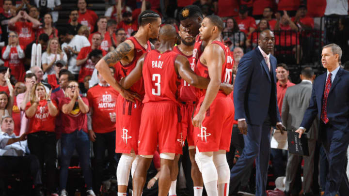 The Houston Rockets huddle during Game Six of the Western Conference Semifinals of the 2019 NBA Playoffs against the Golden State Warriors (Photo by Andrew D. Bernstein/NBAE via Getty Images)