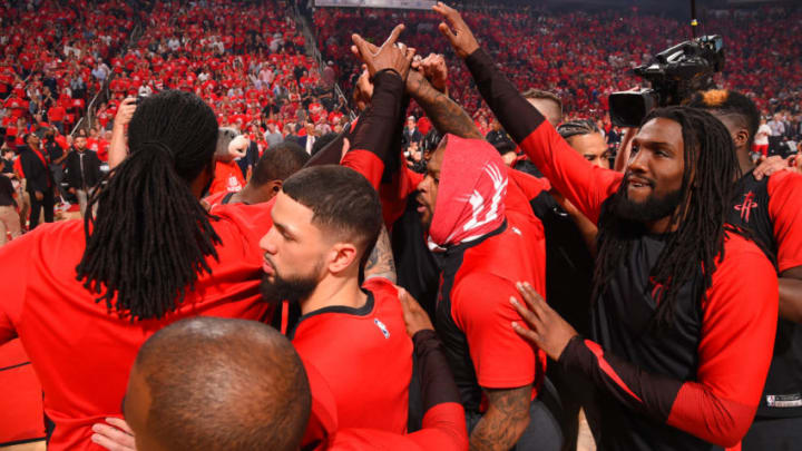 HOUSTON, TX - MAY 10: The Houston Rockets huddle up prior to a game against the Golden State Warriors before Game Six of the Western Conference Semifinals of the 2019 NBA Playoffs on May 10, 2019 at the Toyota Center in Houston, Texas. NOTE TO USER: User expressly acknowledges and agrees that, by downloading and/or using this photograph, user is consenting to the terms and conditions of the Getty Images License Agreement. Mandatory Copyright Notice: Copyright 2019 NBAE (Photo by Bill Baptist/NBAE via Getty Images)