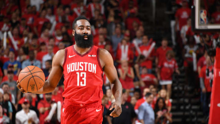 James Harden #13 of the Houston Rockets handles the ball against the Golden State Warriors (Photo by Andrew D. Bernstein/NBAE via Getty Images)