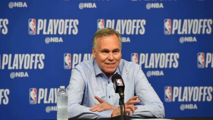Head Coach Mike D'Antoni of the Houston Rockets is interviewed after a game against the Golden State Warriors (Photo by Bill Baptist/NBAE via Getty Images)