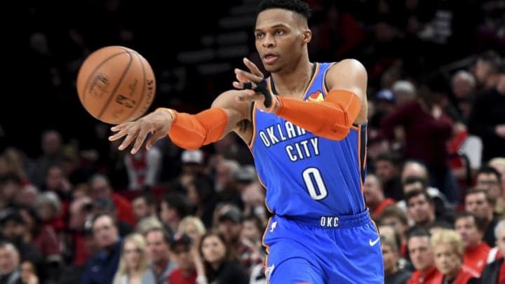 Russell Westbrook #0 of the Oklahoma City Thunder (Photo by Steve Dykes/Getty Images)