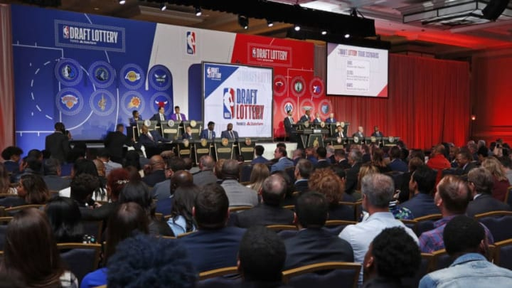 CHICAGO, IL - MAY 14: An overall view of the stage at the 2019 NBA Draft Lottery on May 14, 2019 at the Chicago Hilton in Chicago, Illinois. NOTE TO USER: User expressly acknowledges and agrees that, by downloading and/or using this photograph, user is consenting to the terms and conditions of the Getty Images License Agreement. Mandatory Copyright Notice: Copyright 2019 NBAE (Photo by Jeff Haynes/NBAE via Getty Images)