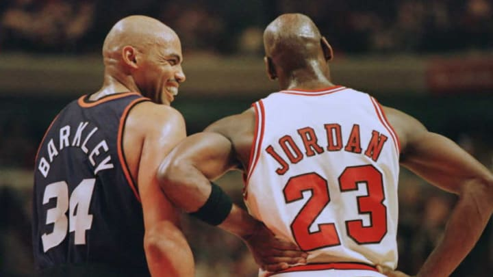 Phoenix Suns forward Charles Barkley Chicago Bulls guard Michael Jordan (Photo credit should read BRIAN BAHR/AFP via Getty Images)