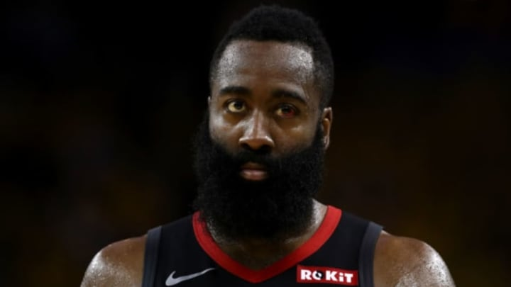 OAKLAND, CALIFORNIA – MAY 08: James Harden #13 of the Houston Rockets stands on the court during their game against the Golden State Warriors in Game Five of the Western Conference Semifinals of the 2019 NBA Playoffs at ORACLE Arena on May 08, 2019 in Oakland, California. NOTE TO USER: User expressly acknowledges and agrees that, by downloading and or using this photograph, User is consenting to the terms and conditions of the Getty Images License Agreement. (Photo by Ezra Shaw/Getty Images)