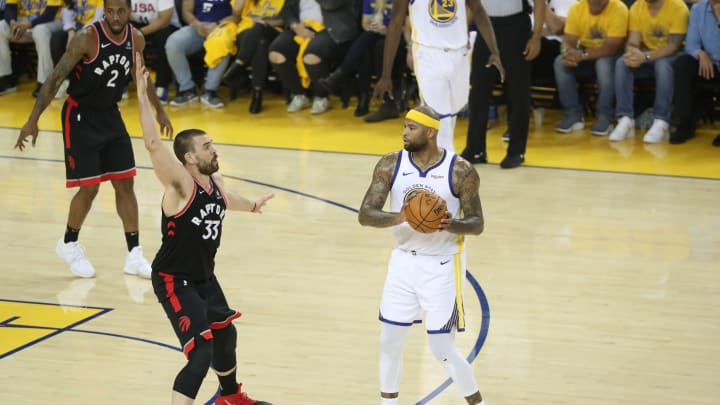 DeMarcus Cousins #0 of the Golden State Warriors looks to pass the ball against the Toronto Raptors (Photo by Joe Murphy/NBAE via Getty Images)
