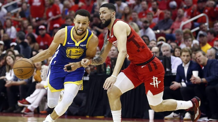 HOUSTON, TEXAS – MAY 10: Stephen Curry #30 of the Golden State Warriors rives around Austin Rivers #25 of the Houston Rockets during Game Six of the Western Conference Semifinals of the 2019 NBA Playoffs at Toyota Center on May 10, 2019 in Houston, Texas. NOTE TO USER: User expressly acknowledges and agrees that, by downloading and or using this photograph, User is consenting to the terms and conditions of the Getty Images License Agreement. (Photo by Bob Levey/Getty Images)