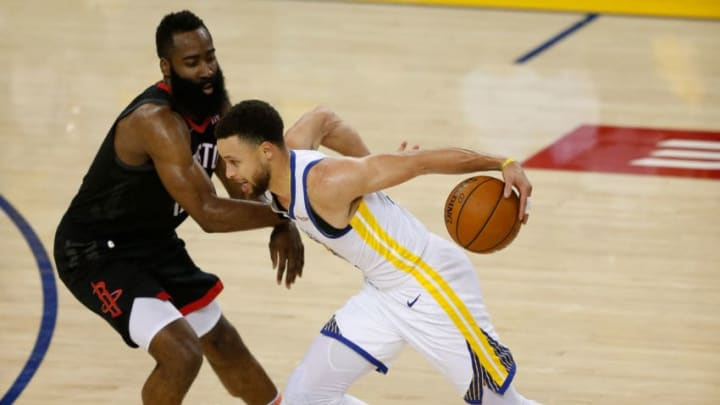 Houston Rockets James Harden Stephen Curry (Photo by Lachlan Cunningham/Getty Images)