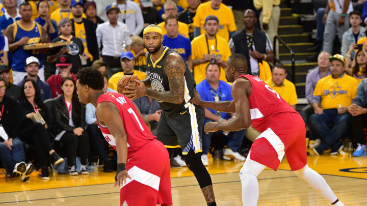 DeMarcus Cousins #0 of the Golden State Warriors handles the ball against the Toronto Raptors (Photo by David Dow/NBAE via Getty Images)