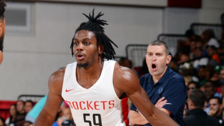 Las Vegas, NV - JULY 6: Chris Clemons #59 of the Houston Rockets handles the ball during the game against the Dallas Mavericks during Day 2 of the 2019 Las Vegas Summer League on July 6, 2019 at the Cox Pavilion in Las Vegas, Nevada. NOTE TO USER: User expressly acknowledges and agrees that, by downloading and or using this Photograph, user is consenting to the terms and conditions of the Getty Images License Agreement. Mandatory Copyright Notice: Copyright 2019 NBAE (Photo by Bart Young/NBAE via Getty Images)