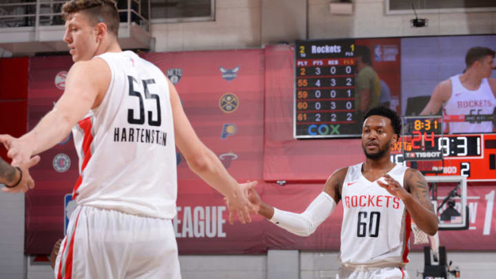 LAS VEGAS, NV - JULY 9: Isaiah Hartenstein #55 and Shamorie Ponds #60 of the Houston Rockets high five during the game against the Houston Rockets on July 9, 2019 at the Cox Pavilion in Las Vegas, Nevada. NOTE TO USER: User expressly acknowledges and agrees that, by downloading and/or using this photograph, user is consenting to the terms and conditions of the Getty Images License Agreement. Mandatory Copyright Notice: Copyright 2019 NBAE (Photo by Bart Young/NBAE via Getty Images)