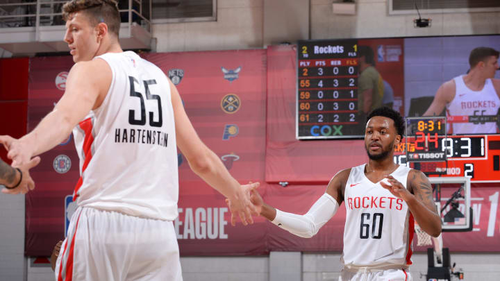 LAS VEGAS, NV – JULY 9: Isaiah Hartenstein #55 and Shamorie Ponds #60 of the Houston Rockets high five during the game against the Houston Rockets on July 9, 2019 at the Cox Pavilion in Las Vegas, Nevada. NOTE TO USER: User expressly acknowledges and agrees that, by downloading and/or using this photograph, user is consenting to the terms and conditions of the Getty Images License Agreement. Mandatory Copyright Notice: Copyright 2019 NBAE (Photo by Bart Young/NBAE via Getty Images)