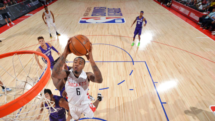 LAS VEGAS, NV – JULY 9: Gary Clark #6 of the Houston Rockets goes to the basket against the Sacramento Kings on July 9, 2019 at the Cox Pavilion in Las Vegas, Nevada. NOTE TO USER: User expressly acknowledges and agrees that, by downloading and/or using this photograph, user is consenting to the terms and conditions of the Getty Images License Agreement. Mandatory Copyright Notice: Copyright 2019 NBAE (Photo by Bart Young/NBAE via Getty Images)