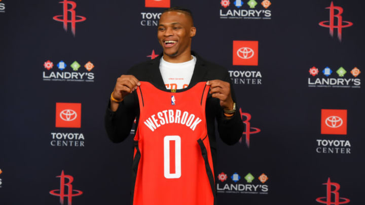 Russell Westbrook #0 of the Houston Rockets (Photo by Bill Baptist/NBAE via Getty Images)
