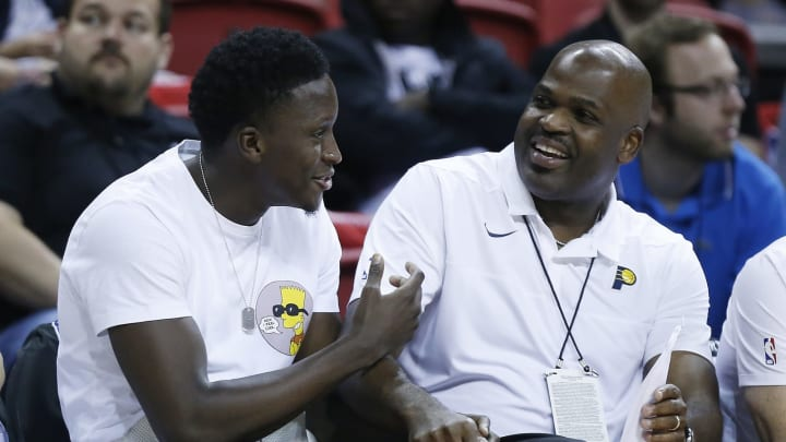 Victor Oladipo #4 of the Houston Rockets talks with head coach Nate McMillan (Photo by Michael Reaves/Getty Images)