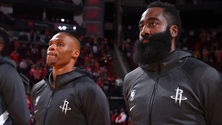Houston Rockets Russell Westbrook and James Harden (Photo by Bill Baptist/NBAE via Getty Images)