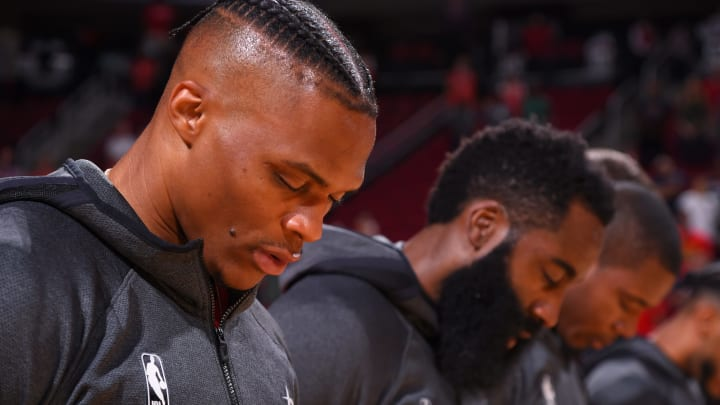 Russell Westbrook #0 of the Houston Rockets and James Harden #13 of the Houston Rockets