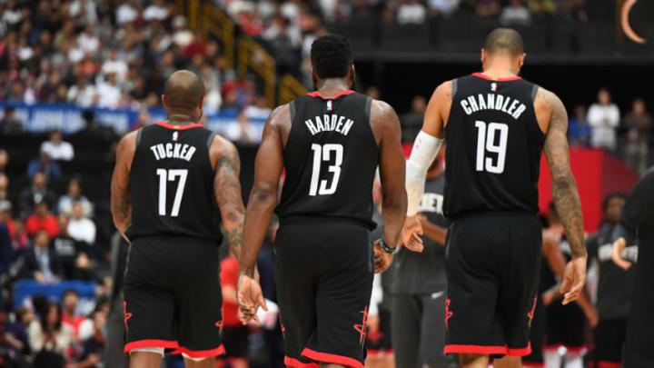 Houston Rockets P.J. Tucker, James Harden, Tyson Chandler (Photo by Garrett Ellwood/NBAE via Getty Images)
