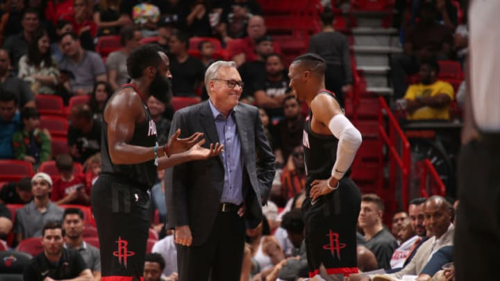 Houston Rockets James Harden Mike D'Antoni Russell Westbrook (Photo by Issac Baldizon/NBAE via Getty Images)