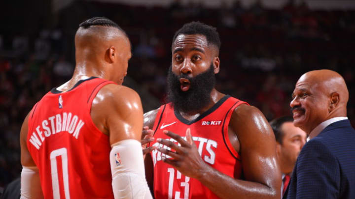 James Harden #13 and Russell Westbrook #0 of the Houston Rockets (Photo by Bill Baptist/NBAE via Getty Images)