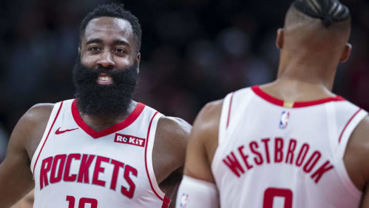 Houston Rockets James Harden Russell Westbrook (Photo by Scott Taetsch/Getty Images)