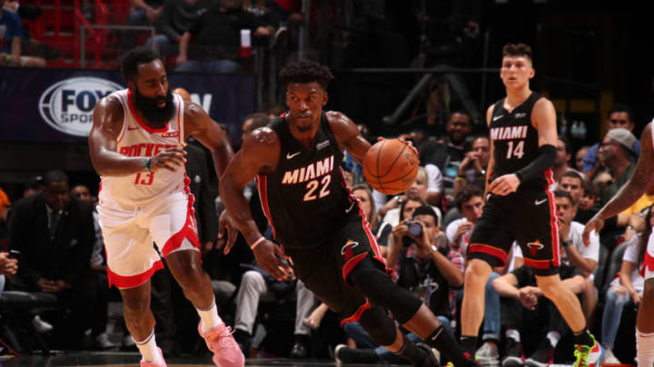 MIAMI, FL - NOVEMBER 3: Jimmy Butler #22 of the Miami Heat handles the ball against the Houston Rockets on November 3, 2019 at American Airlines Arena in Miami, Florida. NOTE TO USER: User expressly acknowledges and agrees that, by downloading and or using this Photograph, user is consenting to the terms and conditions of the Getty Images License Agreement. Mandatory Copyright Notice: Copyright 2019 NBAE (Photo by Issac Baldizon/NBAE via Getty Images)