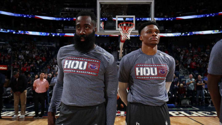 James Harden #13 and Russell Westbrook #0 of the Houston Rockets (Photo by Jeff Haynes/NBAE via Getty Images)
