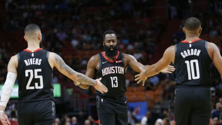 Houston Rockets Ausin Rivers James Harden Eric Gordon (Photo by Michael Reaves/Getty Images)