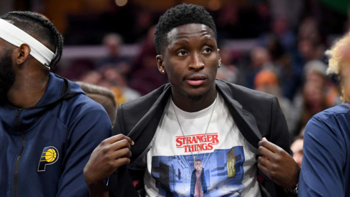 CLEVELAND, OHIO - OCTOBER 26: Victor Oladipo #4 of the Indiana Pacers shows off his t-shirt during the second half against the Cleveland Cavaliers at Rocket Mortgage Fieldhouse on October 26, 2019 in Cleveland, Ohio. The Cavaliers defeated the Pacers 110-99. NOTE TO USER: User expressly acknowledges and agrees that, by downloading and/or using this photograph, user is consenting to the terms and conditions of the Getty Images License Agreement. (Photo by Jason Miller/Getty Images)