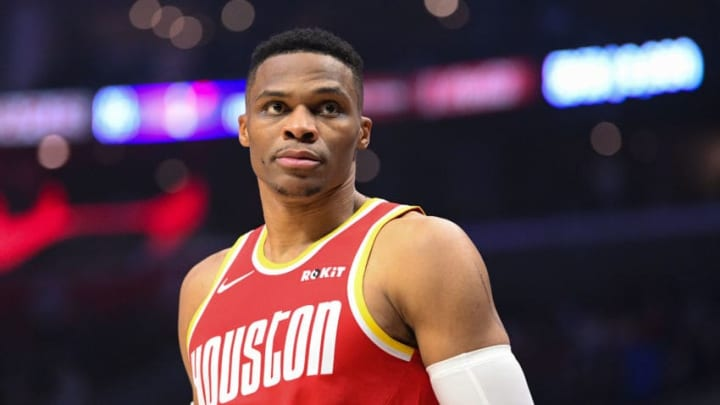 Houston Rockets Guard Russell Westbrook (0) looks on during a NBA game between the Houston Rockets (Photo by Brian Rothmuller/Icon Sportswire via Getty Images)
