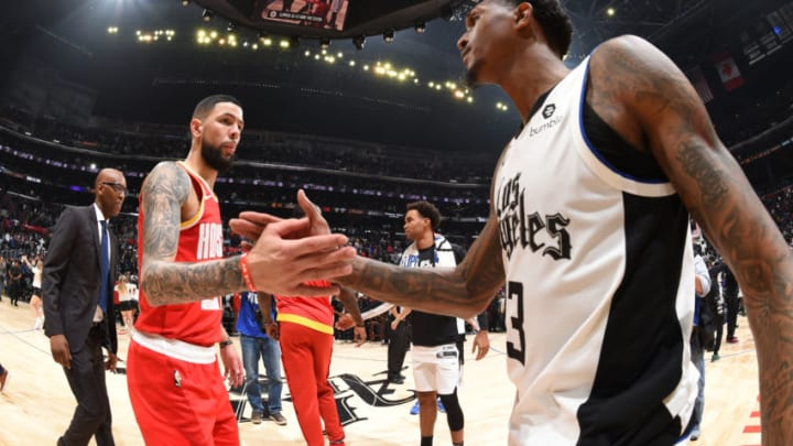Austin Rivers #25 of the Houston Rockets and Lou Williams #23 of the LA Clippers (Photo by Andrew D. Bernstein/NBAE via Getty Images)