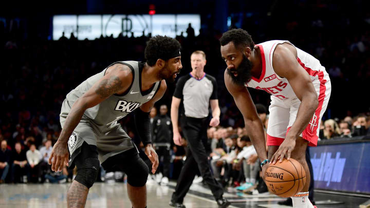 Houston Rockets James Harden, Brooklyn Nets Kyrie Irving (Photo by Emilee Chinn/Getty Images)
