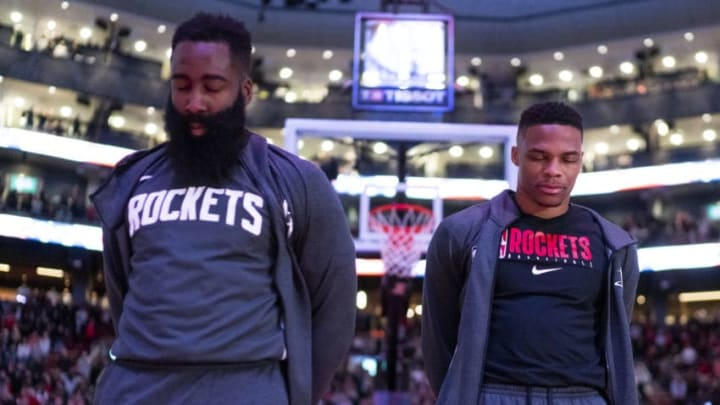 Houston Rockets James Harden Russell Westbrook (Photo by Mark Blinch/NBAE via Getty Images)