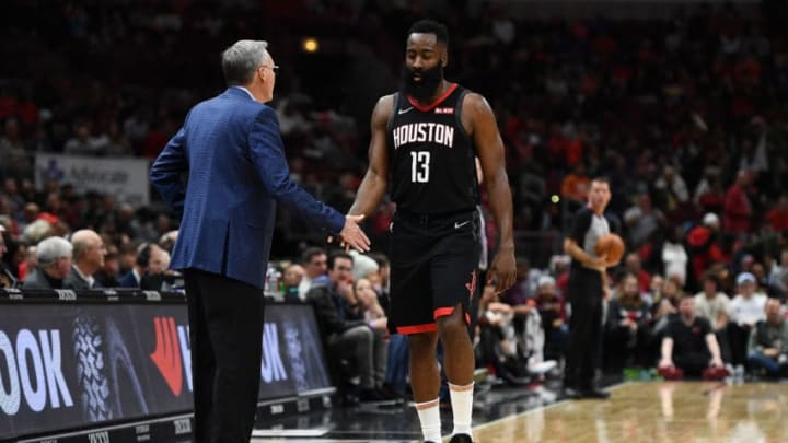 CHICAGO, ILLINOIS - NOVEMBER 09: James Harden #13 of the Houston Rockets speaks with head coach Mike D'Antoni during a game against the Chicago Bulls at United Center on November 09, 2019 in Chicago, Illinois. NOTE TO USER: User expressly acknowledges and agrees that, by downloading and or using this photograph, User is consenting to the terms and conditions of the Getty Images License Agreement. (Photo by Stacy Revere/Getty Images)
