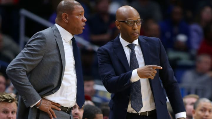 Head coach Doc Rivers of the LA Clippers and assistant coach Sam Cassell (Photo by Jonathan Bachman/Getty Images)