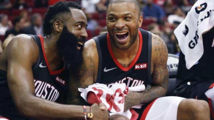 Houston Rockets James Harden P.J. Tucker (Photo by Bob Levey/Getty Images)
